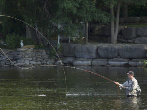 A man fly fishes in waist-deep water