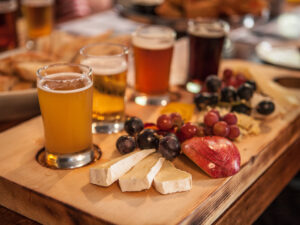 A flight of beers and a charcuterie board
