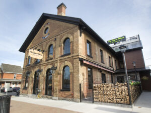 Exterior of Pie-Eyed Monk Brewery, an historic brick building
