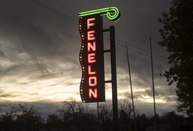 Marquee from old Fenelon Falls Theatre lights up at dusk