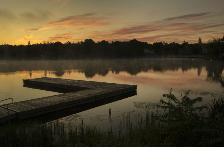 A peaceful dock at sunset
