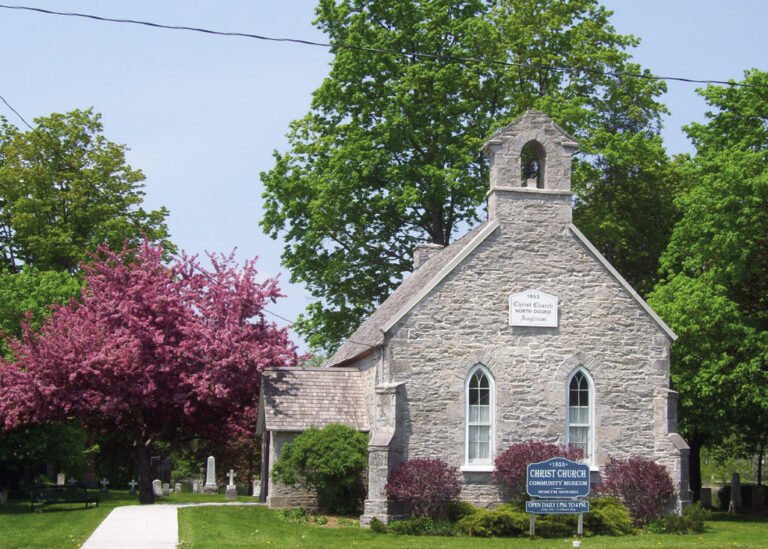 Exterior of Christ Church in Lakefield in summer
