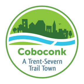 "Logo with town silhouette against flowing water that reads ""Coboconk: A Trent-Severn Trail Town"""