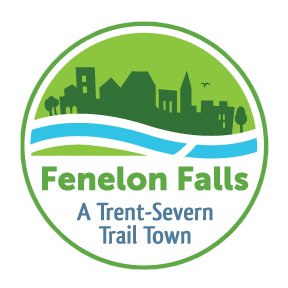 """Logo with town silhouette against flowing water that reads """"Fenelon Falls: A Trent-Severn Trail Town"""""""