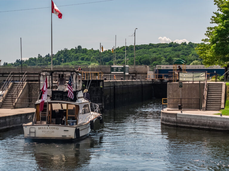 A boat waits to enter the lock at Hastings