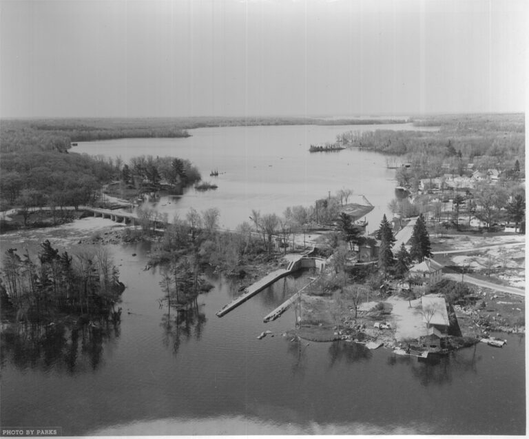 Black and white historical photograph of Buckhorn from the air