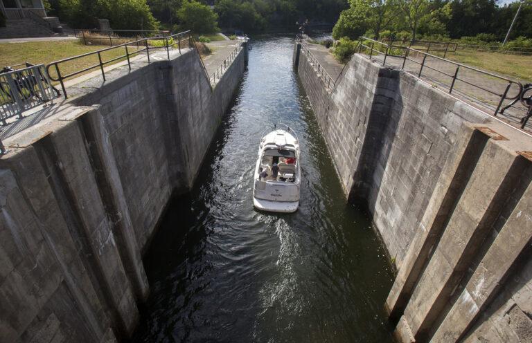 A boat exits the lock at Fenelon Falls