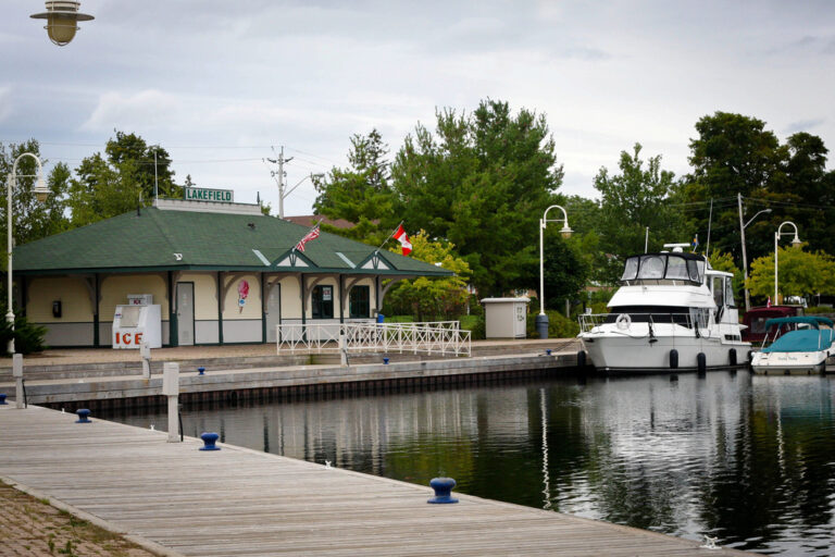 Lakefield Marina seen from the end of a dock