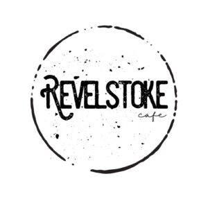 Revelstoke Cafe logo, name written inside the circle left by a beverage cup