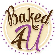 Baked4U logo, shop name written in cursive over the image of a plate