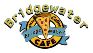 Bridgewater Coffee and Pizza logo, a crest with a slice of pizza in the centre