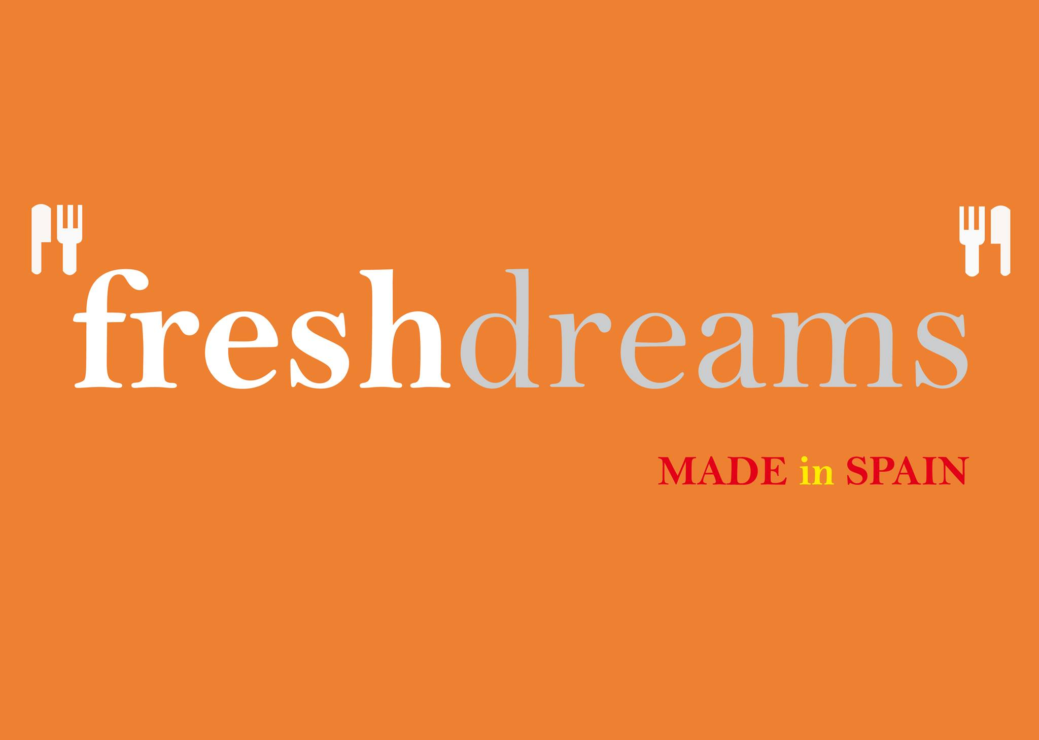 "Fresh Dreams logo, simple text on an orange background with the caption ""made in Spain"""