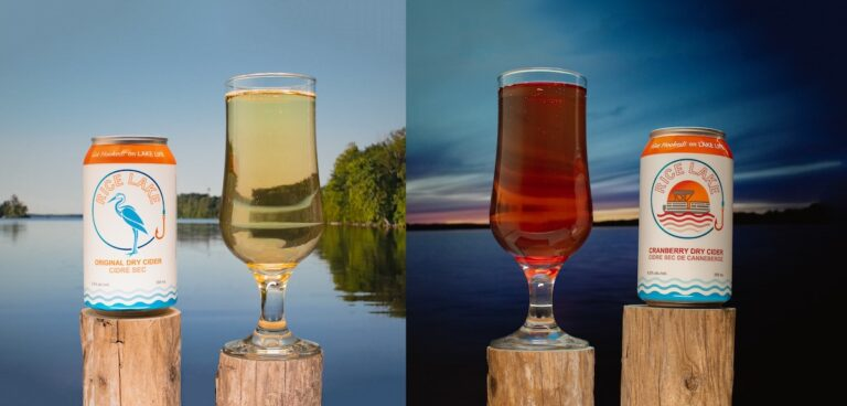 A pair of images, with Rice Lake Original Dry Cider can and glass on the left, and Cranberry Dry Cider can and glass on the right